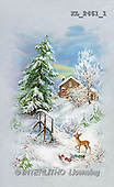 Interlitho, CHRISTMAS SANTA, SNOWMAN, nostalgic, paintings, house, bridge, deer(KL2461/1,#X#) Weihnachten, nostalgisch, Navidad, nostálgico, illustrations, pinturas