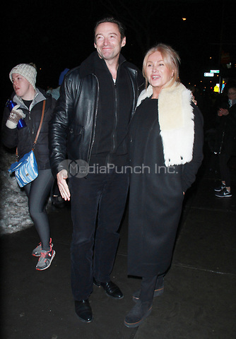 NEW YORK, NY - JANUARY 11: Hugh Jackman, Deborra-Lee Furness arriving at the IFC Films premiere of Freak Show at the Landmark Sunshine Cinema in New York City on January 10, 2018. Credit: RW/MediaPunch