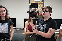 Broderick Fox, professor and chair of the Media Arts and Culture Department, teaches seniors in an in-class cinematography workshop/demo led by guest cinematographer Rik Satoru in Weingart 10 on Oct. 17, 2019.<br /> (Photo by Marc Campos, Occidental College Photographer)