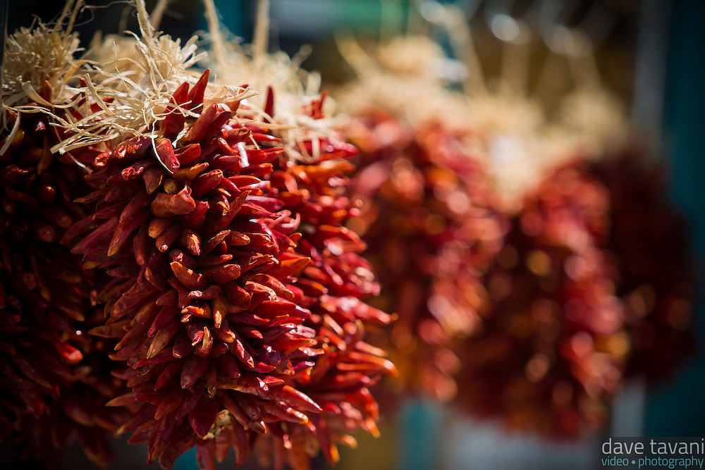 Red chilis grown in the Rio Grande Valley hang outside a store in Old Town Albuquerque.
