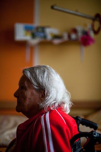 Die deutsche Rentnerin Olga Merkel in ihrem Zimmer im Pflegeheim in Pilsen, Tschechische Republik. / German elderly live in Czech care home in Pilsen
