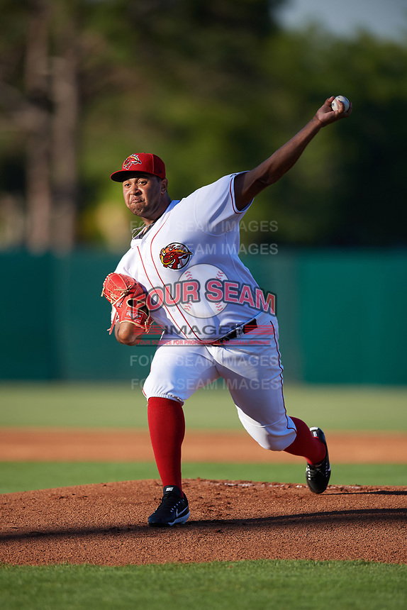 Florida Fire Frogs starting pitcher Luiz Gohara (46) delivers a warmup pitcher during the teams inaugural game against the Daytona Tortugas on April 6, 2017 at Osceola County Stadium in Kissimmee, Florida.  Daytona defeated Florida 3-1.  (Mike Janes/Four Seam Images)