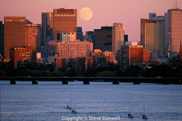 moonrise over Charles River, from BU Bridge, Boston, MA