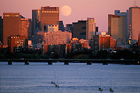 moonrise over Charles River, from BU Bridge, Boston, MA