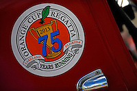 Sticker commemorating the 75th running of the Orange Cup Regatta.