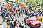 The start of Stage 8 of the 2018 Giro d'Italia, running 209km from Praia a Mare to Montevergine di Mercogliano, Italy. 12th May 2018.<br /> Picture: LaPresse/Massimo Paolone | Cyclefile<br /> <br /> <br /> All photos usage must carry mandatory copyright credit (&copy; Cyclefile | LaPresse/Massimo Paolone)