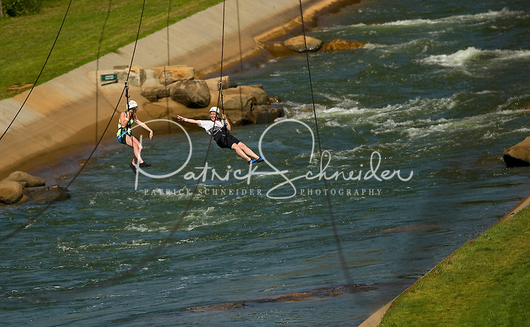 Ziplining  at the US National Whitewater Center (USNWC) in Charlotte, NC.