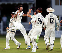 Grant Stewart of Kent is jubilant after bowling George Scott during the County Championship Division 2 game between Kent and Middlesex at the St Lawrence Ground, Canterbury, on June 25, 2018