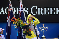 MELBOURNE, 28 JANUARY - Victoria Azarenka (BLR) enters the stadium at the women's finals match on day thirteen of the 2012 Australian Open at Melbourne Park, Australia. (Photo Sydney Low / syd-low.com)