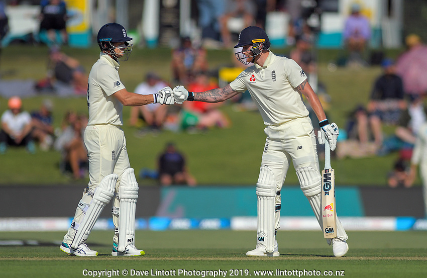 England batsmen Joe Denley (left)  Ben Stokes during day one of the international cricket 1st test match between NZ Black Caps and England at Bay Oval in Mount Maunganui, New Zealand on Thursday, 21 November 2019. Photo: Dave Lintott / lintottphoto.co.nz