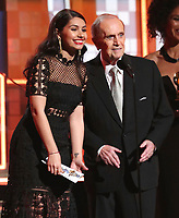 Alessia Cara, left, and Bob Newhart present the award for best new artist at the 61st annual Grammy Awards on Sunday, Feb. 10, 2019, in Los Angeles. (Photo by Matt Sayles/Invision/AP)
