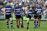 Rhys Priestland of Bath Rugby kicks for touch. Aviva Premiership match, between Bath Rugby and London Irish on May 5, 2018 at the Recreation Ground in Bath, England. Photo by: Patrick Khachfe / Onside Images