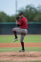 AZL Diamondbacks starting pitcher Luis Frias (13) delivers a pitch during an Arizona League game against the AZL White Sox at Camelback Ranch on July 12, 2018 in Glendale, Arizona. The AZL Diamondbacks defeated the AZL White Sox 5-1. (Zachary Lucy/Four Seam Images)