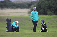Robin Dawson and Peter O'Keeffe from Ireland on the 10th fairway during Round 3 Foursomes of the Men's Home Internationals 2018 at Conwy Golf Club, Conwy, Wales on Friday 14th September 2018.<br /> Picture: Thos Caffrey / Golffile<br /> <br /> All photo usage must carry mandatory copyright credit (&copy; Golffile | Thos Caffrey)