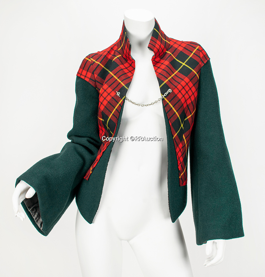 """BNPS.co.uk (01202 558833)<br /> Pic: RRAuction/BNPS<br /> <br /> Pictured:#5021 - """"Highland Rape"""" MacQueen Tartan and Green Wool Jacket With Kick-Back Hip Panels and Original Pattern AW 1995 has an estimate of $75,000<br /> <br /> A vast archive of items relating to British fashion designer Alexander McQueen have emerged for sale for over £1m.<br /> <br /> The enormous collection has been amassed by one of his personal friends -Ruti Danan who worked worked for the late icon for two years between 1994 and 1996.<br /> <br /> During that period she amassed a treasure trove of items including items of clothing, behind-the-scene photographs and sketches of new designs.<br /> <br /> She has kept the collection for over two decades but has now decided the time is right to part with it for the first time.<br /> <br /> There are an incredible 74 lots set to go under the hammer at RR Auction of Boston, Massachusetts."""
