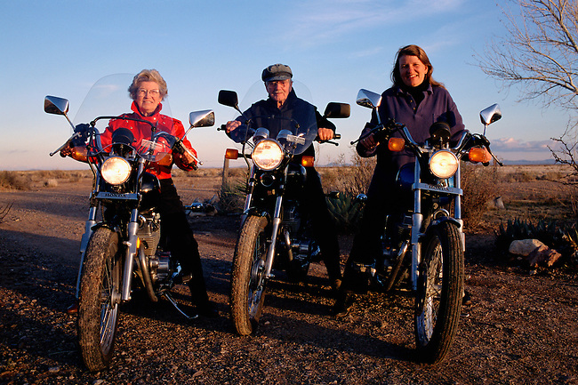Older Bikers on Honda Nighthawks and LHS on a Honda Rebel on the Desert in New Mexico. USA