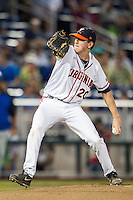 Virginia Cavaliers starting pitcher Brandon Waddell (20) delivers a pitch to the plate during the NCAA College baseball World Series against the Florida Gators on June 15, 2015 at TD Ameritrade Park in Omaha, Nebraska. Virginia defeated Florida 1-0. (Andrew Woolley/Four Seam Images)