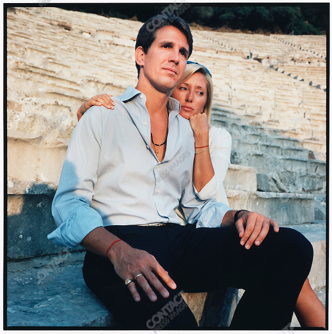Prince Pavlos, the Crown Prince of Greece, and his wife, Princess Marie-Chantal, photographed at the Epidavros Theater during their vacation to Porto Heli. Epidavros, Greece, August 2007.