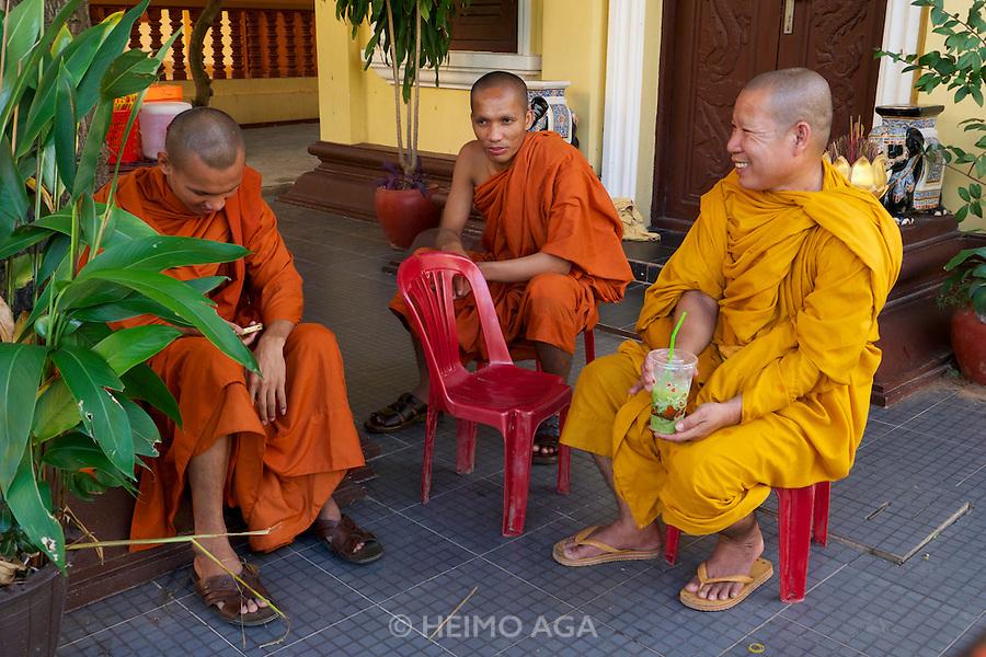 Phnom Penh, Cambodia. Buddhist monks at Wat Botum.