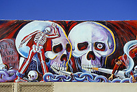 Anti smoking painting with skulls and skeleton on a wall in LA