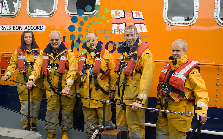 Onboard the RNLI Aberdeen Lifeboat the 'Bon Accord' to mark their support of the Charity, for Charity of the Year 2010 are Scotmid Co-Operative members (from left):.Elaine Arthur, Hollis Smallman, Malcolm Brown, John Brodie & Scott Cran..Picture: Universal News And Sport (Scotalnd) 18 August 2010.