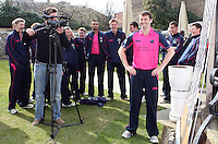 Players see the funny side at the Middlesex press call as Tim Murtagh is interviewed - Middlesex County Cricket Club Press Day at Lords Cricket Ground, London - 08/04/13 - MANDATORY CREDIT: Rob Newell/TGSPHOTO - Self billing applies where appropriate - 0845 094 6026 - contact@tgsphoto.co.uk - NO UNPAID USE.