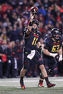 College Park, MD - October 22, 2016: Maryland Terrapins quarterback Perry Hills (11) throws a pass during game between Michigan St. and Maryland at  Capital One Field at Maryland Stadium in College Park, MD.  (Photo by Elliott Brown/Media Images International)