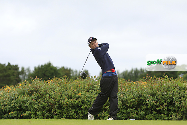 Liam Dowling (Mallow) on the 18th tee during R1 of the 2016 Connacht U18 Boys Open, played at Galway Golf Club, Galway, Galway, Ireland. 05/07/2016. <br /> Picture: Thos Caffrey | Golffile<br /> <br /> All photos usage must carry mandatory copyright credit   (&copy; Golffile | Thos Caffrey)