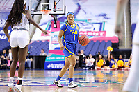 GREENSBORO, NC - MARCH 04: Dayshanette Harris #1 of the University of Pittsburgh dribbles the ball during a game between Pitt and Notre Dame at Greensboro Coliseum on March 04, 2020 in Greensboro, North Carolina.
