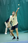 Borna Gojo of the Wake Forest Demon Deacons in action during the finals of the 2018 NCAA Men's Tennis Singles Championship at the Wake Forest Indoor Tennis Center on May 28, 2018 in Winston-Salem, North Carolina.  Petros Chrysochos defeated teammate Borna Gojo 6-3 6-3.  (Brian Westerholt/Sports On Film)
