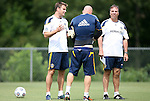 28 May 2012: Head coach Bruce Arena (right) with assistant coach Curt Onalfo (left) and Bill Gaudette. The Los Angeles Galaxy held a training session on Field 6 at WakeMed Soccer Park in Cary, NC the day before playing in a 2012 Lamar Hunt U.S. Open Cup third round game.