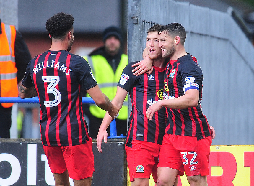 Blackburn Rovers' Richard Smallwood celebrates scoring his side's first goal with team-mate Craig Conway<br /> <br /> Photographer Kevin Barnes/CameraSport<br /> <br /> The EFL Sky Bet League One - Rochdale v Blackburn Rovers - Saturday 9th September 2017 - Spotland Stadium - Rochdale<br /> <br /> World Copyright &copy; 2017 CameraSport. All rights reserved. 43 Linden Ave. Countesthorpe. Leicester. England. LE8 5PG - Tel: +44 (0) 116 277 4147 - admin@camerasport.com - www.camerasport.com