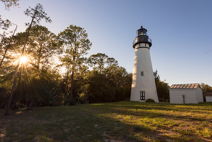The historic lighthouse on Amelia Island photographed at sunset.