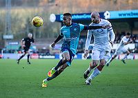 Paris Cowan-Hall of Wycombe Wanderers and Scott Cuthbert of Luton Town during the Sky Bet League 2 match between Wycombe Wanderers and Luton Town at Adams Park, High Wycombe, England on the 21st January 2017. Photo by Liam McAvoy.