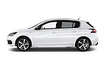 Car driver side profile view of a 2018 Peugeot 308 GT Line 5 Door Hatchback