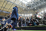 16.03.2019, VELTINS Arena, Gelsenkirchen, Deutschland, GER, 1. FBL, FC Schalke 04 vs. RB Leipzig<br /> <br /> DFL REGULATIONS PROHIBIT ANY USE OF PHOTOGRAPHS AS IMAGE SEQUENCES AND/OR QUASI-VIDEO.<br /> <br /> im Bild Gerald Asamoah (Teammanager Schalke) betritt Stadion<br /> <br /> Foto © nordphoto / Kurth