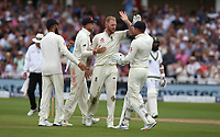 England's Ben Stokes celebrates taking the wicket of South Africa's Dean Elgar<br /> <br /> Photographer Stephen White/CameraSport<br /> <br /> Investec Test Series 2017 - Second Test - England v South Africa - Day 3 - Sunday 16th July 2017 - Trent Bridge - Nottingham<br /> <br /> World Copyright &copy; 2017 CameraSport. All rights reserved. 43 Linden Ave. Countesthorpe. Leicester. England. LE8 5PG - Tel: +44 (0) 116 277 4147 - admin@camerasport.com - www.camerasport.com