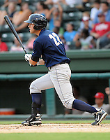 Outfielder Taylor Grote (22) of the Charleston RiverDogs, Class A affiliate of the New York Yankees, in a game against the Greenville Drive on July 31, 2011, at Fluor Field at the West End in Greenville, South Carolina. (Tom Priddy/Four Seam Images)