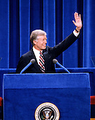 United States President Jimmy Carter delivers his speech accepting his party's nomination for reelection as President of the United States at the 1980 Democratic National Convention in Madison Square Garden in New York, New York on August 13, 1980.<br /> Credit: Arnie Sachs / CNP