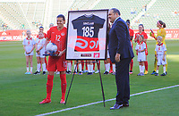 CARSON, CA - FEBRUARY 07: Christine Sinclair #12 of Canada is honored during a game between Canada and Costa Rica at Dignity Health Sports Park on February 07, 2020 in Carson, California.