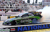 Sept. 15, 2012; Concord, NC, USA: NHRA funny car driver Alexis DeJoria during qualifying for the O'Reilly Auto Parts Nationals at zMax Dragway. Mandatory Credit: Mark J. Rebilas-