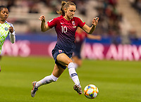 REIMS, FRANCE - JUNE 08: Caroline Graham Hansen #10 dribbles forward during a game between Norway and Nigeria at Stade Auguste-Delaune on June 8, 2019 in Reims, France.