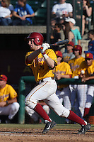 Kevin Swick # 34 of the USC Trojans bats against the Northwestern Wildcats at Dedeaux Field on  February 16, 2014 in Los Angeles, California. USC defeated Northwestern, 13-6. (Larry Goren/Four Seam Images)