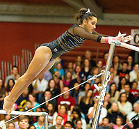 STANFORD, CA--March 1, 2013--Stanford women's Gymnastics competition against Cal and Oregon State University on the Stanford University Campus. Stanford won the competition .  Ashley Morgan