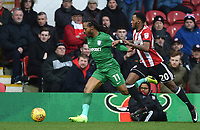 Preston's Daniel Johnson and Brentford's Josh Clarke<br /> <br /> Photographer Jonathan Hobley/CameraSport<br /> <br /> The EFL Sky Bet Championship - Brentford v Preston North End - Saturday 10th February 2018 - Griffin Park - Brentford<br /> <br /> World Copyright &copy; 2018 CameraSport. All rights reserved. 43 Linden Ave. Countesthorpe. Leicester. England. LE8 5PG - Tel: +44 (0) 116 277 4147 - admin@camerasport.com - www.camerasport.com