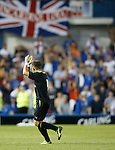 Rhys McCabe applauds the Rangers support after he is subbed