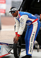 Mar 29, 2014; Las Vegas, NV, USA; NHRA top fuel driver Antron Brown during qualifying for the Summitracing.com Nationals at The Strip at Las Vegas Motor Speedway. Mandatory Credit: Mark J. Rebilas-