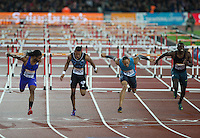 Jason RICHARDSON (left) of USA (110m Hurdles) wins ahead of Pascal MARTINOT-LAGARDE (2nd Right) of France (110m Hurdles) during the Sainsburys Anniversary Games Athletics Event at the Olympic Park, London, England on 24 July 2015. Photo by Andy Rowland.