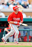 9 March 2011: Philadelphia Phillies' catcher Brian Schneider in action during a Spring Training game against the Detroit Tigers at Joker Marchant Stadium in Lakeland, Florida. The Phillies defeated the Tigers 5-3 in Grapefruit League play. Mandatory Credit: Ed Wolfstein Photo