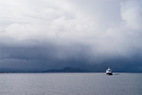 Hurtigruten, Norwegain coast steamer, sailing north under storm skies, Norway